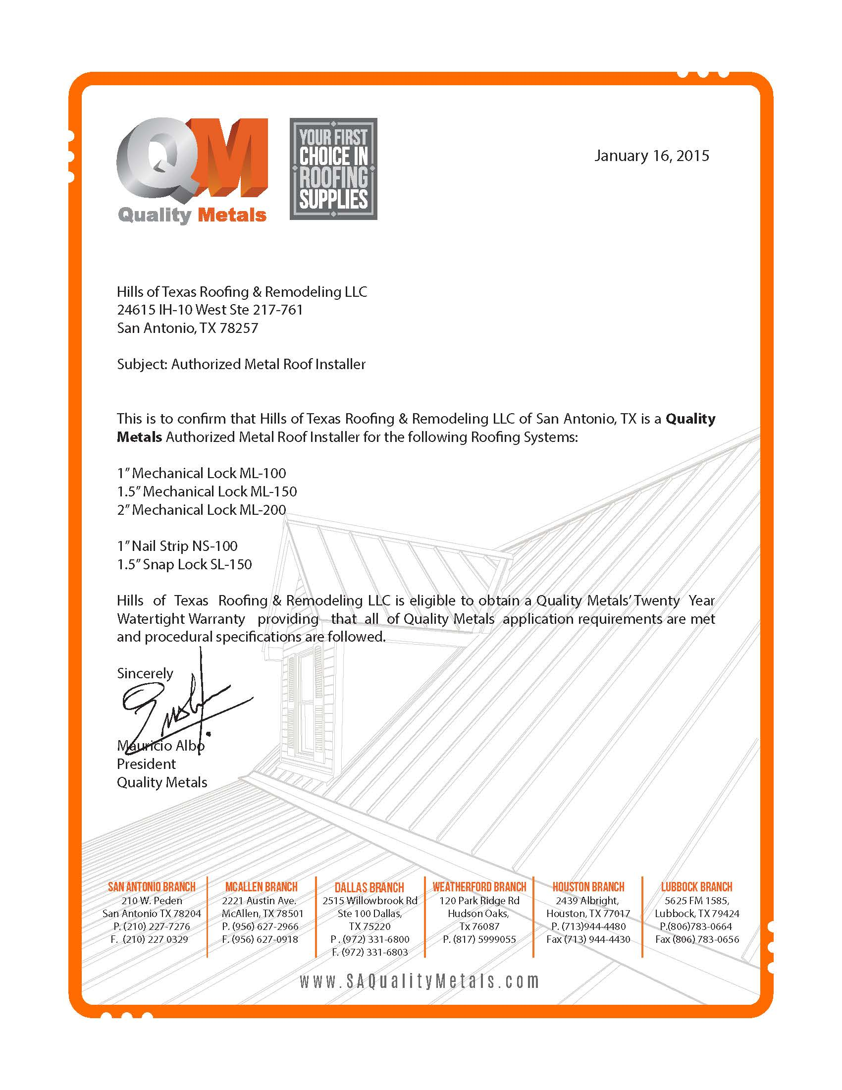 Quality Metals certifiedletter